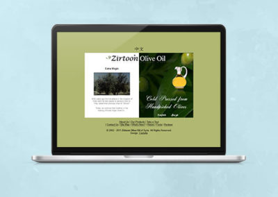 Zirtoon Olive Oil Website Design